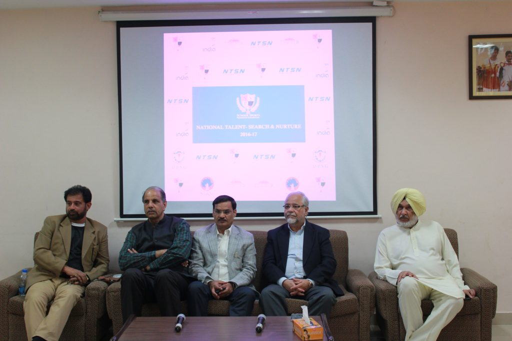 Chetan Sharma (left), Om Parkash, Hira Ballabh, Om Pathak and Gurbachan Singh Randhawa at the media conference